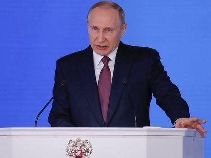 O presidente russo, Vladimir Putin, pronuncia o seu discurso anual sobre o estado da nação
