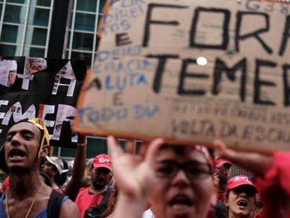 Um protesto contra o presidente Michel Temer, na última quarta-feira, em São Paulo