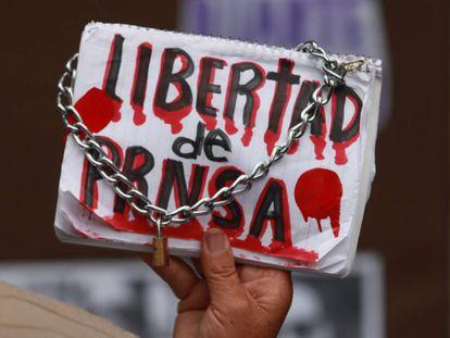 Slogan em uma manifestação de jornalistas na Cidade do México.
