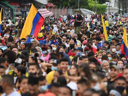 Uma manifestação contra o Governo colombiano em Cali, em 13 de junho.