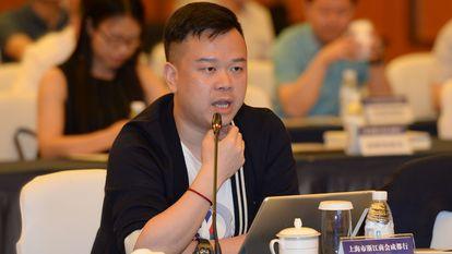 Lin Qi, diretor-executivo da Yoozoo Games, em um evento ocorrido na China em maio de 2018.