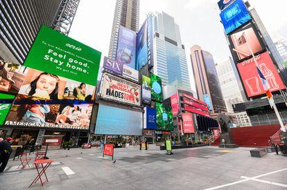 Times Square, em Nova York, em 26 de agosto.
