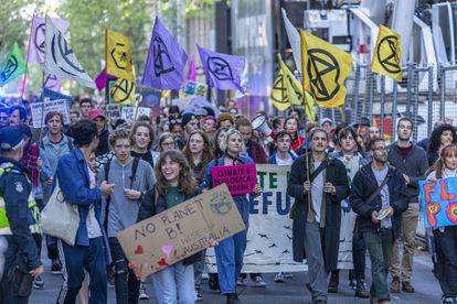 Marcha en Melbourne contra o aquecimento climático, em 9 de outubro de 2019