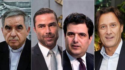 Giovanni Angelo Becciu, René Brülhart, Tommaso di Ruzza, Raffaele Mincione, acusados no julgamento que começa nesta terça-feira.