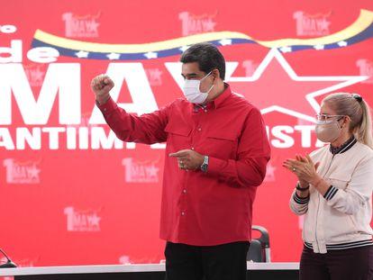 Nicolás Maduro, em um ato pelo Dia do Trabalhador, em 1º de maio, na sede do Governo, em Caracas.