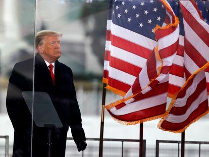 Donald Trump, ao final de seu comício em Washington em 6 de janeiro, dia do ataque ao Capitólio.