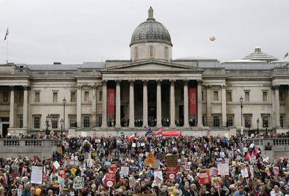 Concentração em Trafalgar Square, no centro de Londres, nesta terça-feira