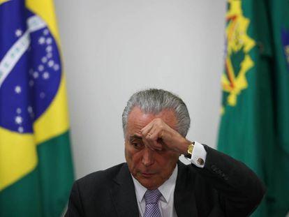 O presidente interino Michel Temer, no Palácio do Planalto.