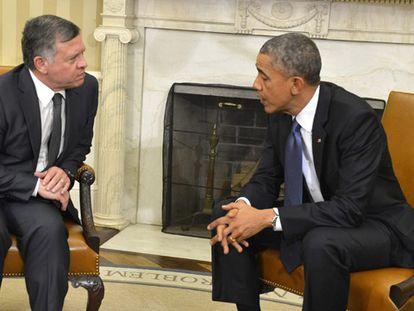 O rei Abdalá com Obama nesta terça-feira na Casa Branca.