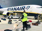 los agentes de seguridad utilizan un perro rastreador para comprobar el equipaje de los pasajeros del avión de Ryanair con matrícula SP-RSM, que transportaba al opositor Raman Pratasevich
