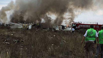 O avião que de acidentou no norte do México.
