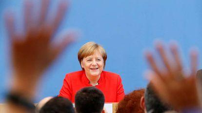 A chanceler alemã, Angela Merkel, nesta sexta-feira em Berlim.