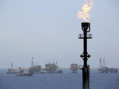 Plataformas petrolíferas da Pemex no México.