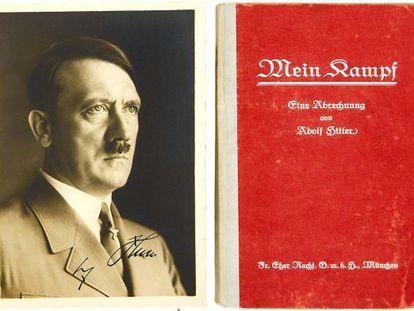 Retrato de Hitler numa primeira edição de 'Mein Kampf', com autógrafo do ditador nazista incluído.