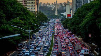 Congestionamento na zona sul de São Paulo.