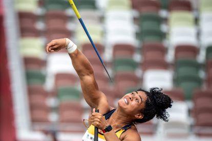 A vice-campeã paralímpica Raissa Rocha Machado, medalha de prata no lançamento de dardo da classe F56 em Tóquio.