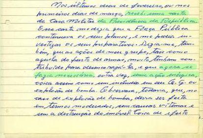 Trecho do depoimento manuscrito de Aladino Félix, assumindo a autoria do roubo de armas e apontando sua conexão com o alto comando da Presidência da República