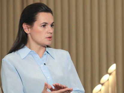 Svetlana Tsikhanouskaya no sábado em Vilnius (Lituânia).