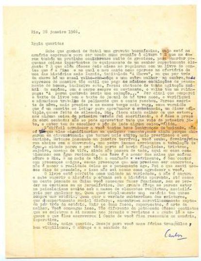 Carta de Carlos Drummond de Andrade a Lygia Fagundes Telles.