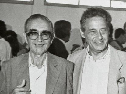 Florestan Fernandes e Fernando Henrique Cardoso em 1986, em Marília.