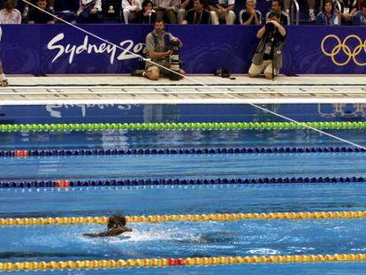 Eric na prova de 100 metros livres masculino nos Jogos Olímpicos de Sydney em 2000.