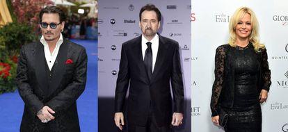 De esquerda a direita, os atores Johnny Depp, Nicolas Cage e Pamela Anderson