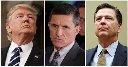 Trump, Flynn e Comey.