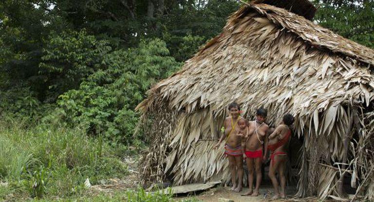 Uma família da etnia Yanomami na Amazônia brasileira.