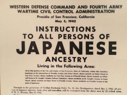 Ordem militar para que os japoneses da área de San Francisco se apresentassem para sua detenção.