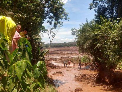 Imagens da barragem de Brumadinho.