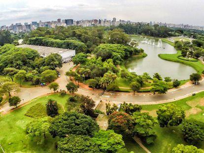Vista aérea do Parque Ibirapuera, na zona sul de São Paulo.