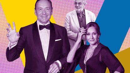 """Kevin Spacey, Plácido Domingo e J.K. Rowling são três figuras que, por razões muito diferentes, se tornaram símbolos em diferentes países do que veio a ser chamado de """"cultura do cancelamento"""". Os três continuam trabalhando."""