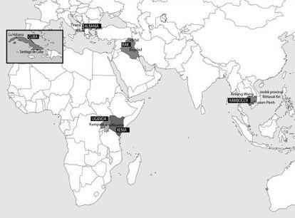 O mapa com os países protagonistas de 'Como alimentar um ditador'.