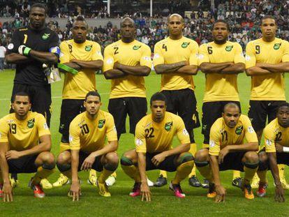 Os onze titulares da seleção jamaicana na Copa do Caribe.