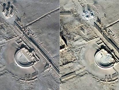 Imagens por satélite do teatro romano e do Tetrapylon de Palmira em 26 de dezembro de 2016 (E) e 10 de janeiro passado (D).