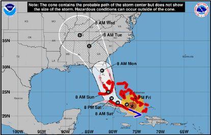 Trajetória projetada do furacão Irma.