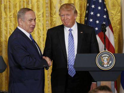 Donald Trump e Benjamin Netanyahu na Casa Branca, na quarta-feira.