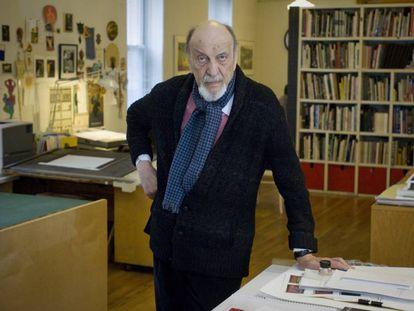 Milton Glaser em seu estúdio em Nova York.