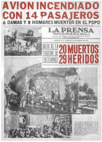 Capa do 'La Prensa' com o acidente de aviação que inspirou 'El avionazo'.