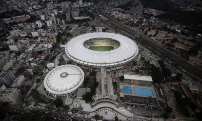 Vista aérea do Maracanã, palco da abertura dos Jogos.