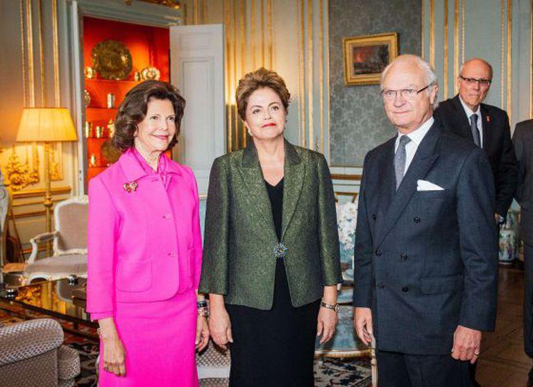 Dilma Rousseff com os reis da Suécia.