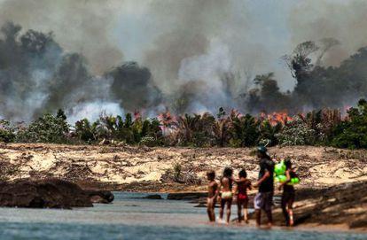 Uma das ilhas do Xingu, desmatada e queimada para o enchimento do lago de Belo Monte, por Lilo Clareto.