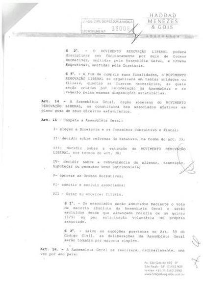 Parte do estatuto do MRL, com o artigo 15, que trata, dentre outras coisas, de quem tem direito a voto na organização (clique para ampliar).