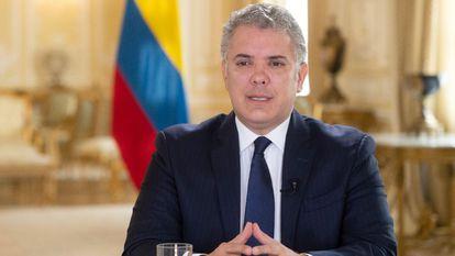 O presidente colombiano, Iván Duque, durante um pronunciamento no Palácio de Nariño em Bogotá.