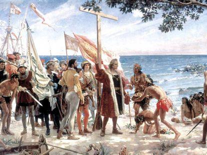Óleo 'Primeira homenagem a Colombo (12 de outubro de 1492)', de José Garnelo y Alda, de 1892. No vídeo, a retirada da estátua de Colombo em Los Angeles.