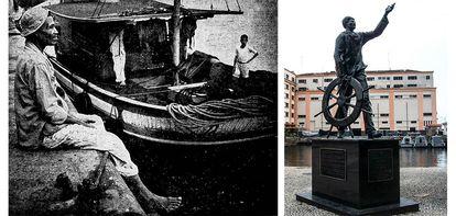 João Cândido na década de 1940, como pescador, e estátua do Almirante Negro no Rio de Janeiro