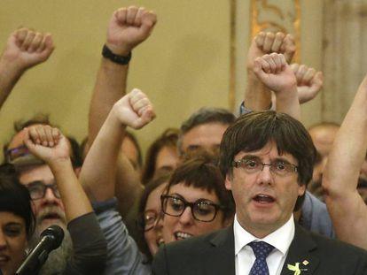 Carles Puigdemont na sexta-feira passada no Parlamento catalão.