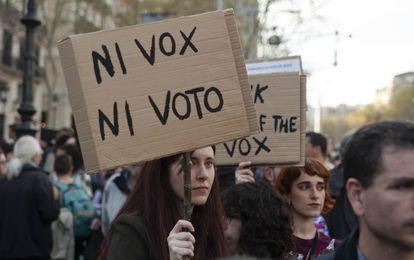 Manifestação contra o Vox em Barcelona, em 23 de março.