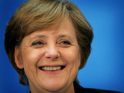 Angela Merkel, em uma entrevista coletiva em Berlim em 2005.