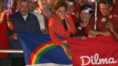 Dilma e Lula, durante a campanha no Recife.
